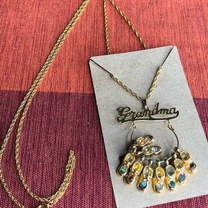 Vintage Grandma Gold Necklace Pendant Baby Shoes